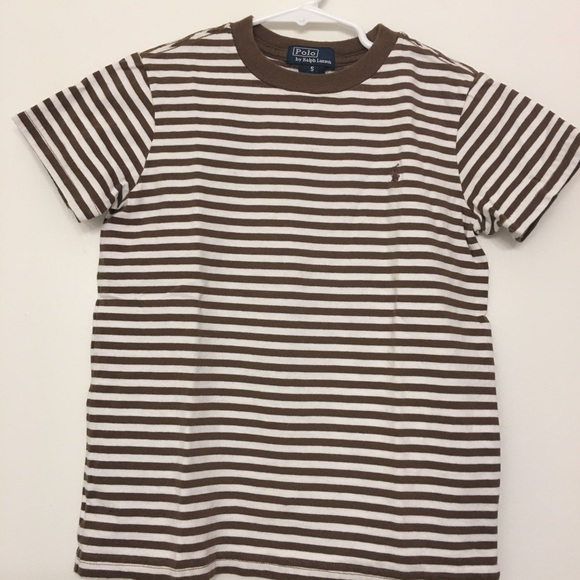 Striped Polo Lauren Brownwhite 5 T Ralph Sz Shirt PZXOuik